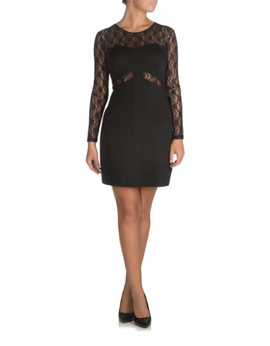 Guess Johanna Lace Sheath Dress-JET BLACK WITH FROST GREY-Large
