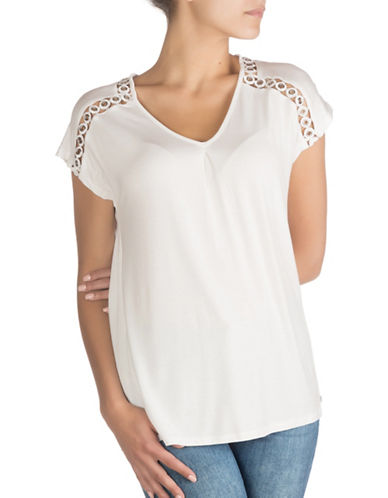 Guess Eyelet Top-TRUE WHITE-Medium