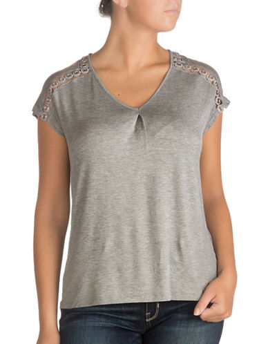 Guess Eyelet Top-MEDIUM CHARCOAL HEATHER-Small