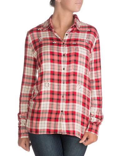 Guess Nadia Shirt-RED CHECK COMBO-X-Large