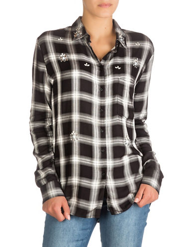 Guess Nadia Shirt-BLACK WHITE CHECK-Medium