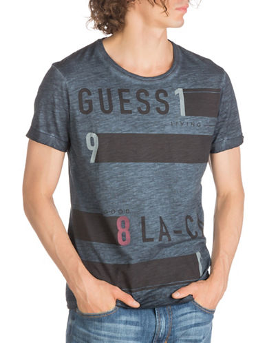 Guess As Fast As I Can Cotton Tee-BLUE-X-Large