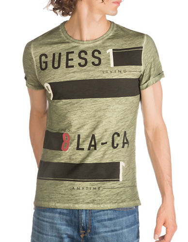 Guess As Fast As I Can Cotton Tee-GREEN-X-Large