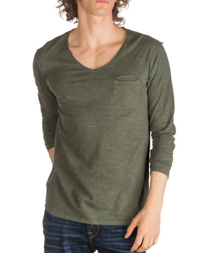 Guess Leroy Long Sleeve Cotton Top-GREEN-XX-Large