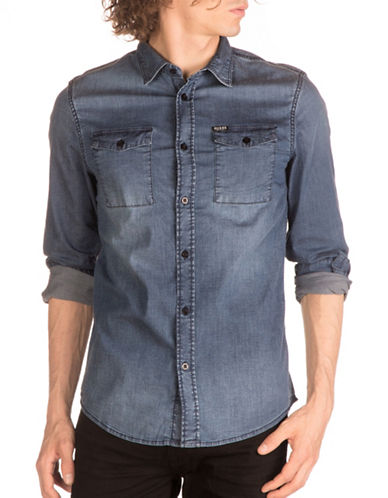 Guess Stretch Denim Sport Shirt-BLUE-X-Large