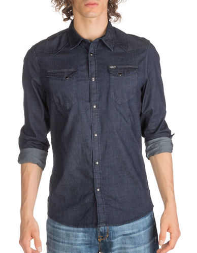Guess Joshua Casual Button-Down Shirt-BLUE-XX-Large