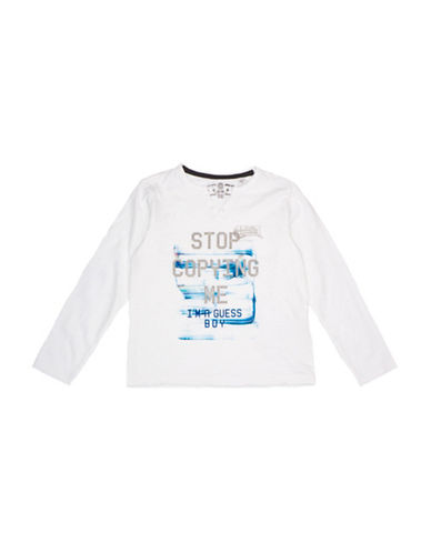 Guess Stop Copying Me Cotton Tee-WHITE-4
