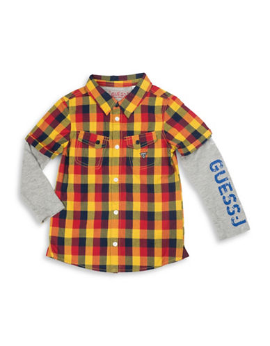 Guess Plaid Two-Fer Shirt-BLUE-5