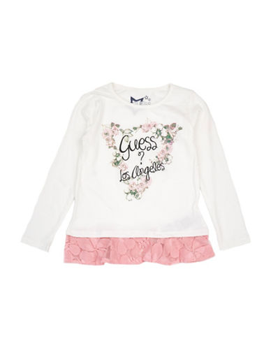 Guess Lace Hem Tee-WHITE-3T
