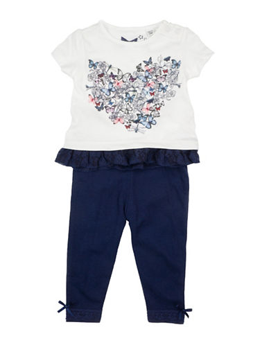 Guess Two-Piece Lace Tee and Pants Set-WHITE-18 Months