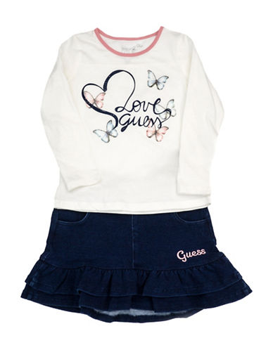 Guess Two-Piece Printed Tee & Skirt Set-WHITE-3T