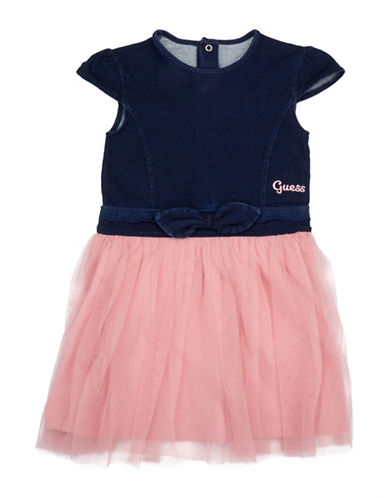 Guess Denim Two-Fer Dress-BLUE-3T