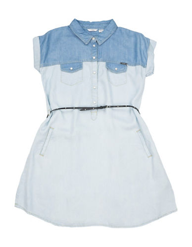 Guess Two-Toned Denim Dress-BLUE-8