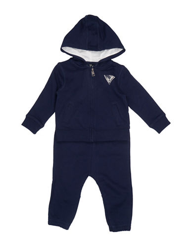 Guess Two-Piece Graphic Cotton Hoodie and Pants Set-BLUE-12 Months