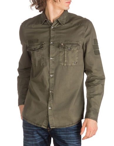 Guess Patch Casual Button-Down Shirt-GREEN-X-Large
