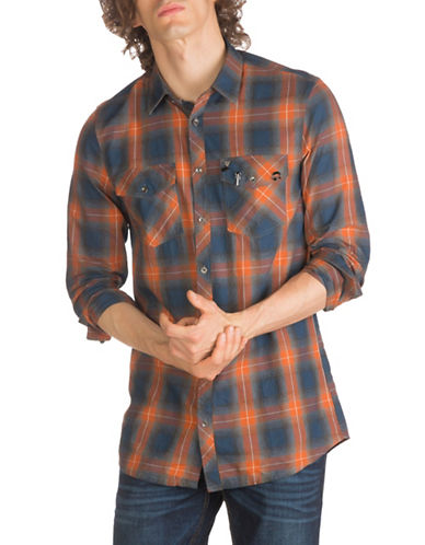 Guess Rough Macro Check Cotton Casual Button-Down Shirt-ORANGE-Large