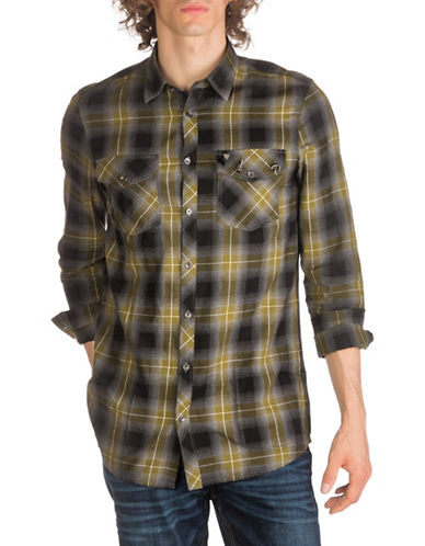 Guess Rough Macro Check Cotton Casual Button-Down Shirt-BLACK-Small