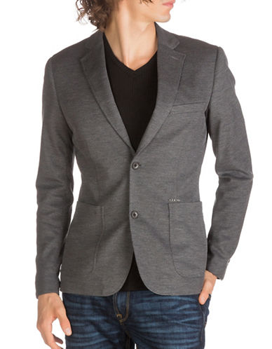 Guess Woven Casual Blazer-GREY-Large