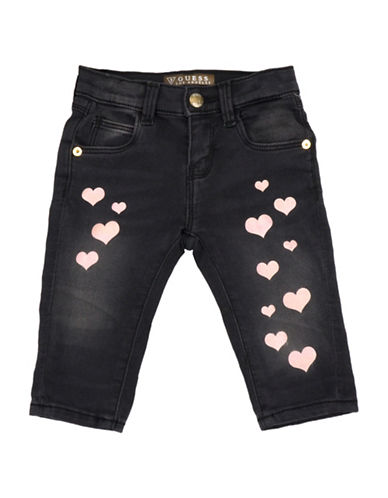 Guess Glitter Heart Denim Pants-GREY-12 Months