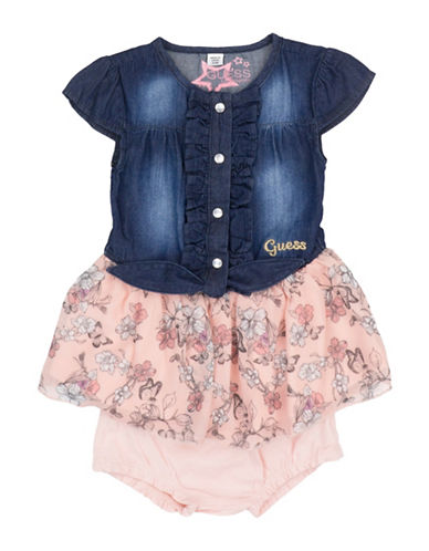 Guess Two-Piece Ruffled Denim Dress and Bloomers Set-BLUE-3-6 Months
