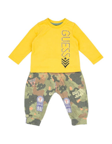 Guess Two-Piece Camouflage Pants and T-Shirt Set-YELLOW-12 Months