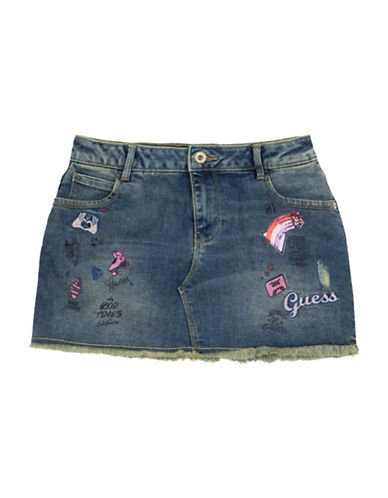 Guess Embroidered Denim Skirt-BLUE-8