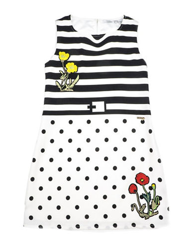 Guess Stripe and Polka Dot Dress-BLACK-8