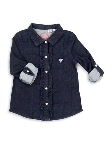 Guess Ruffled Graphic-Back Denim Shirt-BLUE-3T