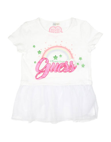 Guess Rainbow and Star Two-Fer Tee-WHITE-3T
