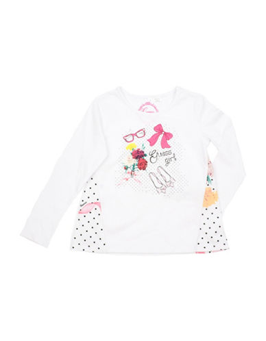 Guess Floral Graphic Print Shirt-MILK-3T