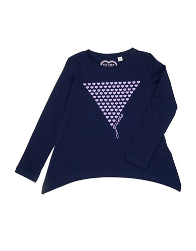 Guess Graphic Cotton Tee-BLUE-2T