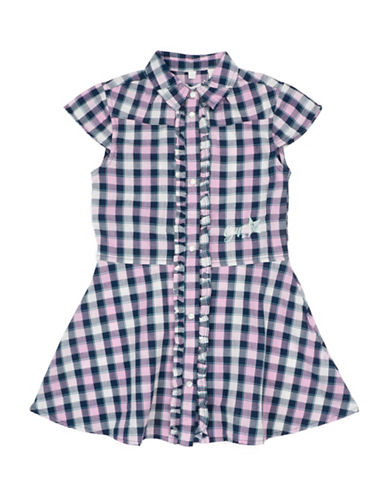 Guess Woven Cotton Checked Dress-CHECK-5