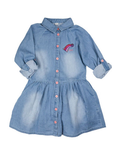 Guess Woven Chambray Dress-BLUE-6X