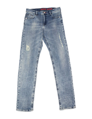 Guess Boys Dirty Wash Skinny Distressed Jeans-BLUE-14
