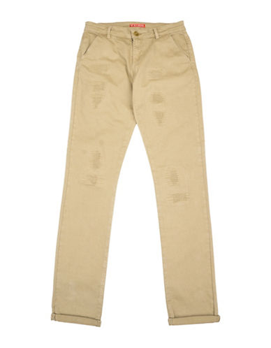 Guess Distressed Chino Pants-BEIGE-8