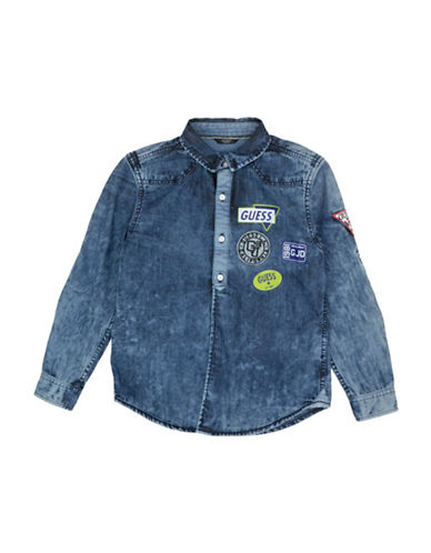 Guess Logo Patch Denim Shirt-BLUE-12