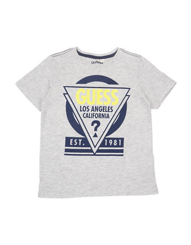 Guess Triangle Logo Cotton Tee-GREY-14