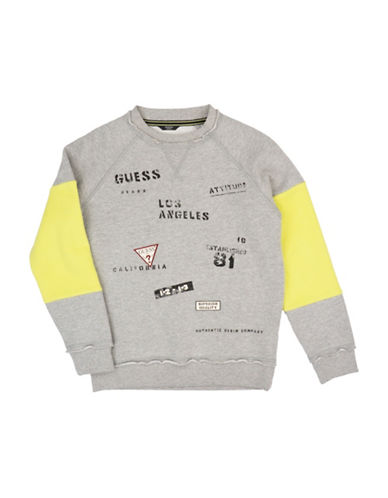 Guess Logo-Print Fleece Sweatshirt-GREY-16