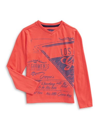 Guess Long Sleeve Text Graphic Tee-PINK-2