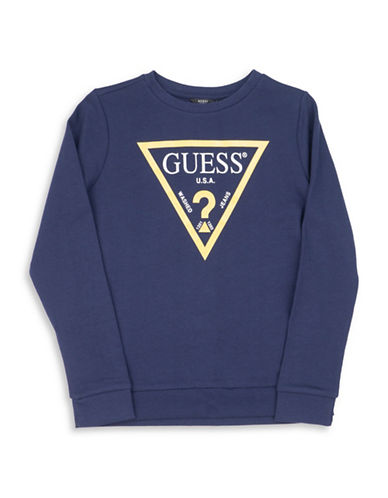 Guess Core Triangle Cotton Sweater-BLUE-5