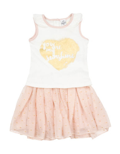 Guess Two-Piece My Sunshine Cotton Tee and Skirt Set-WHITE-24 Months