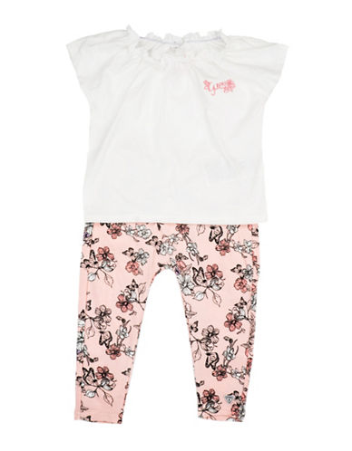 Guess Cotton Tee & Leggings Set-WHITE-6-9 Months