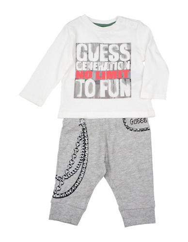 Guess Two-Piece Logo Shirt and Pants Set-WHITE-24 Months