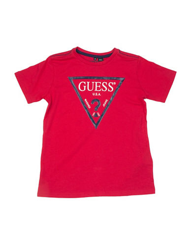 Guess Triangle Logo Cotton T-Shirt-RED-16