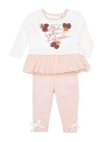 Guess Two-Piece Knit Top and Leggings Set-WHITE-6-9 Months