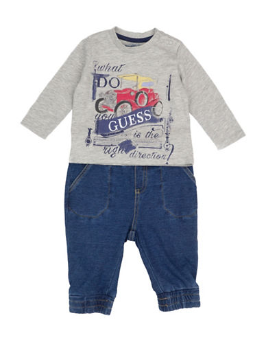 Guess Two-Piece Graphic Tee and Pants Set-GREY-6-9 Months