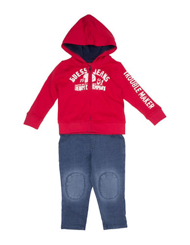 Guess Two-Piece Logo Cotton Hoodie and Pants Set-RED-18 Months