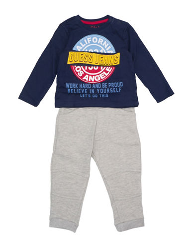 Guess Two-Piece Graphic Cotton Tee and Pants Set-BLUE-12M