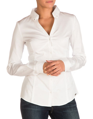 Guess Ivana Button-Down Shirt-WHITE-Medium