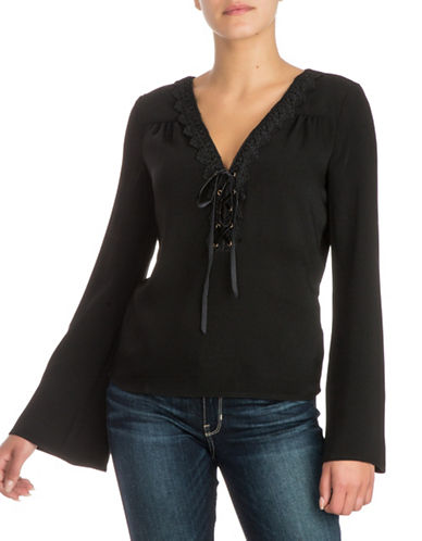 Guess Ines Lace-Up Top-BLACK-Small